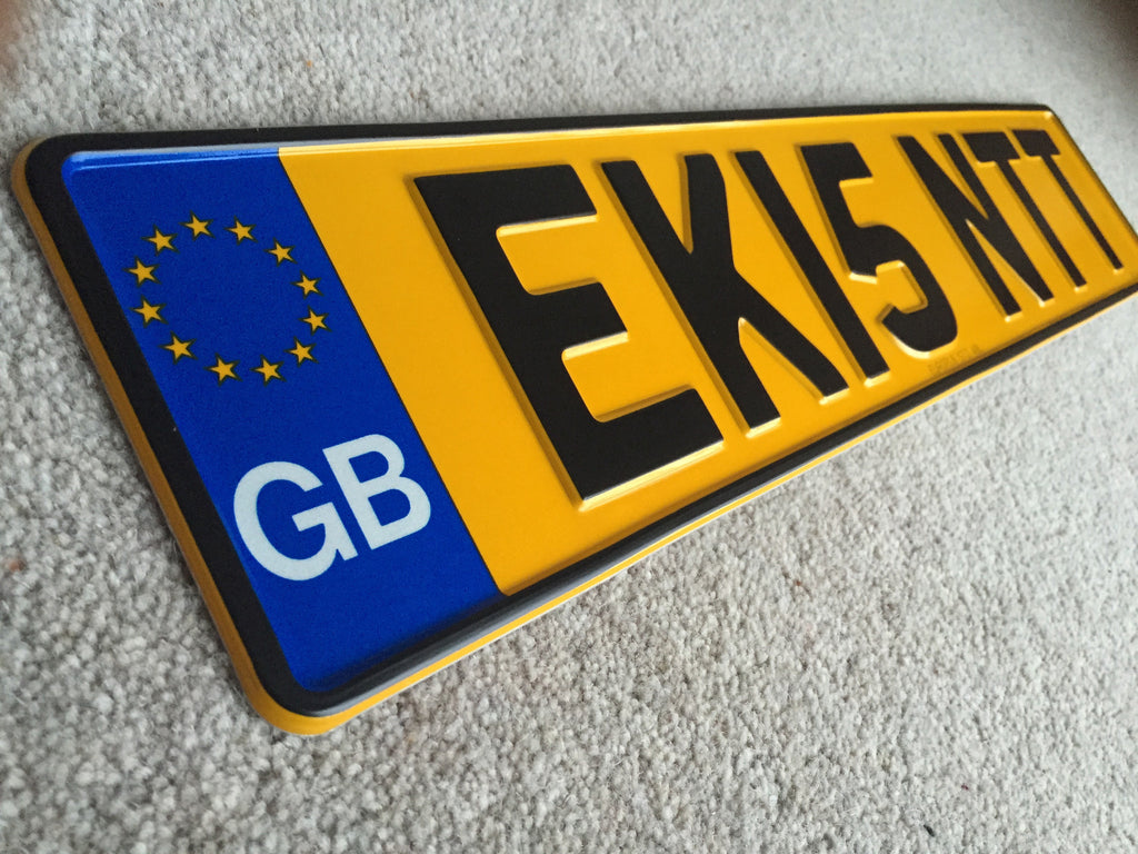 GB Road Legal Pressed Number Plate SINGLE YELLOW – Europl8