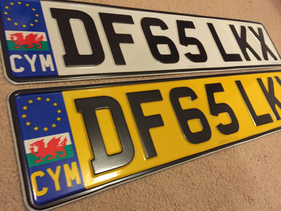 Wales Flag Welsh Road Legal Pressed Plates CYMRU