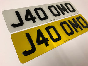 "Single Short 16"" Gel Plastic Number Plate"