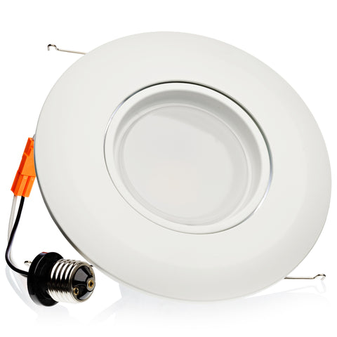 120W Replacement, 15W LED Eyeball Gimbal 6 Inch Recessed Downlight Trim Kit - LED Light Club