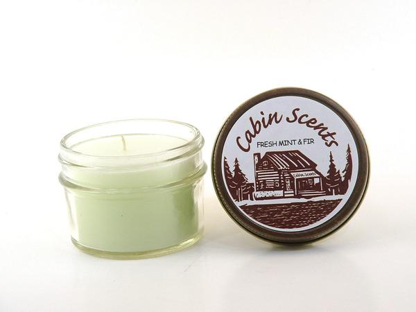 Cabin Scents 4oz Mini Mason Jar Candle: Fresh Mint & Fir