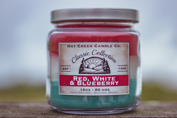 16oz Scented Jar Candle: Red, White & Blueberry - LIMITED TIME!