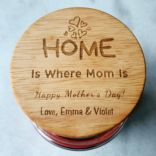 16oz Personalized Scented Jar Candle: HOME is where MOM is