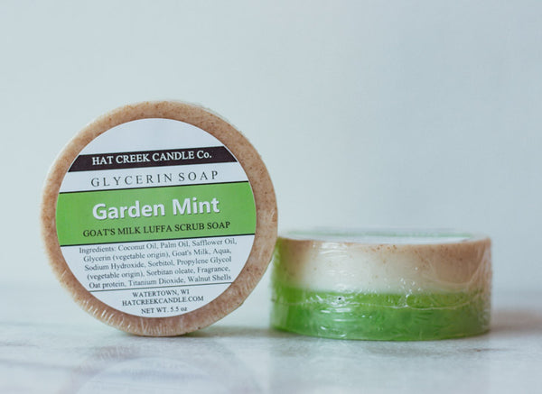 Goat's Milk Luffa Scrub Soap:  Garden Mint - REFRESHING!