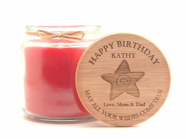 16oz Personalized Scented Jar Candle: Birthday Wishes Come True