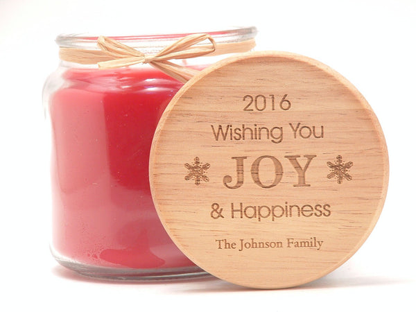 16oz Personalized Scented Jar Candle: Wishing You Joy