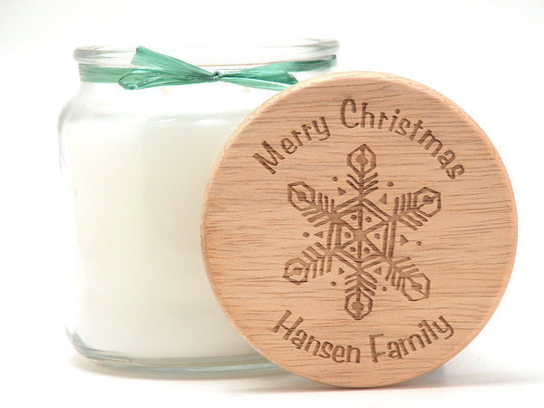 16oz Personalized Scented Jar Candle: Woodcut Snowflake