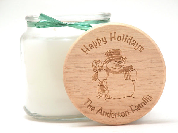 16oz Personalized Scented Jar Candle: Holiday Snowman