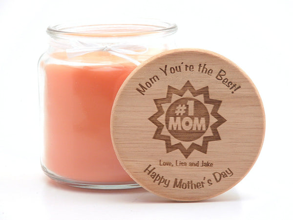 16oz Personalized Scented Jar Candle: #1 MOM