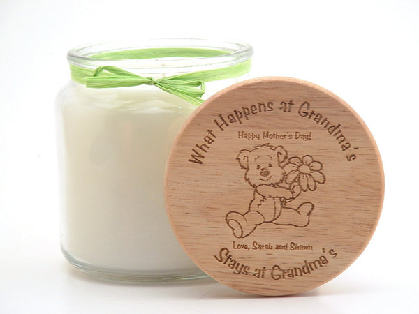16oz Personalized Scented Jar Candle: What Happens at Grandma's