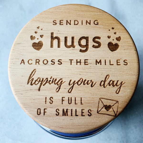16oz Personalized Scented Jar Candle: Sending Hugs Across the Miles