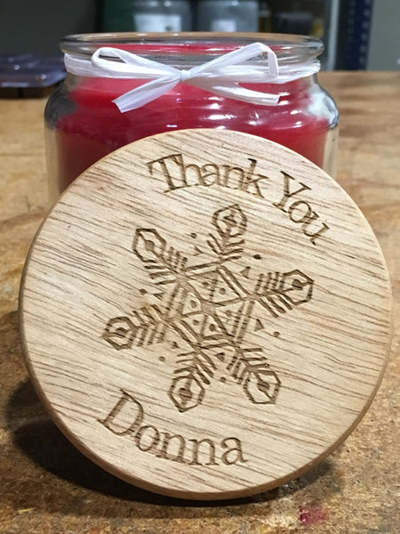 16oz Personalized Scented Jar Candle: Thank You Snowflake