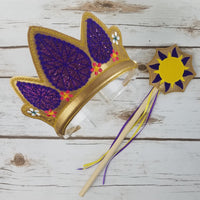 Golden Hair Princess Crown and Wand