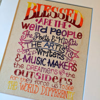 Blessed are the Weird People Stitches of Art