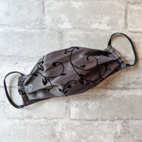 Face Mask - Charcoal and Black Floral on Taffeta