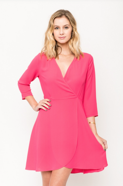 Sale - Sophia Fuchsia Fit And Flare Dress by Everly
