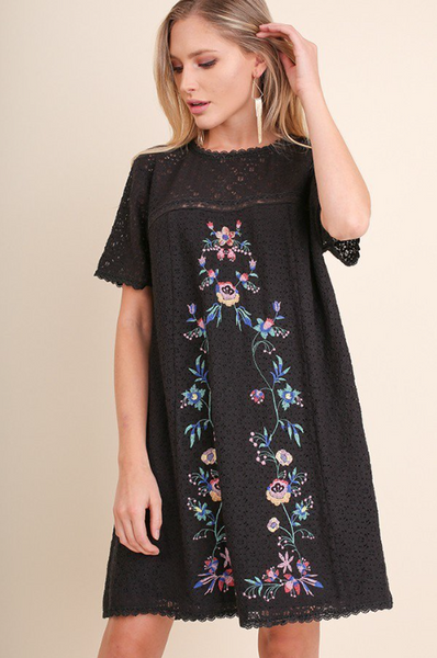 Vintage Love Embroidered Lace Tunic Dress - Black