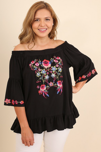 Plus Size - Poppy Off The Shoulder Embroidered Top - Black
