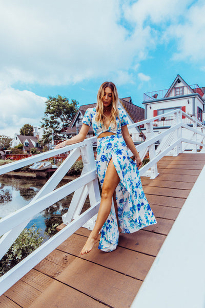 Bluebird Two Piece Maxi Set - Ivory And Blue