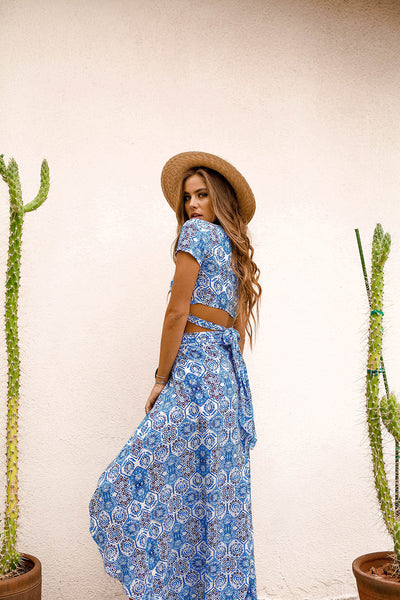 Blue Mosaic Two Piece Maxi Set