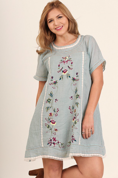 Plus Size - Vintage Love Collection - Cotton Tunic Dress With Floral Embroidery - Light Blue