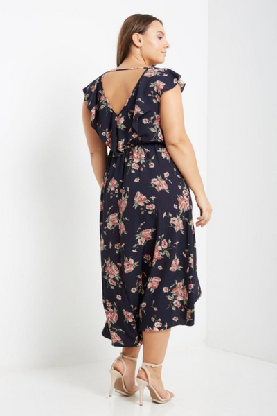 Plus Size - Garden Party Navy Floral Maxi Dress