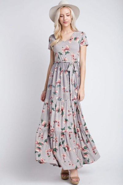 Freya Maxi Dress - Grey Floral