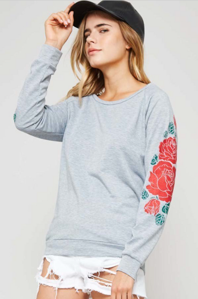 Romy Rose Print Long Raglan Sleeve Top - Gray