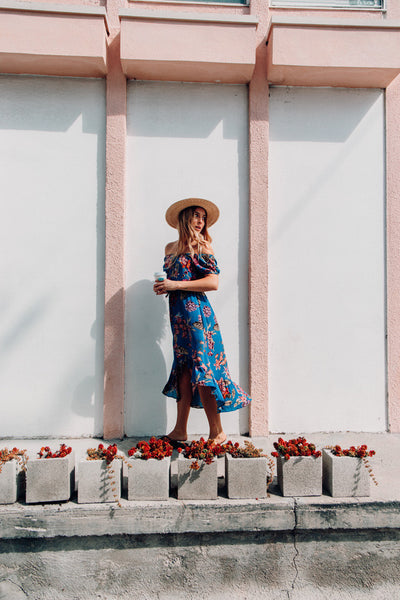Hilo Floral Dress - Sea Blue