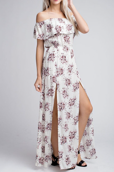 Tallulah Ivory And Floral Off Shoulder Maxi Dress