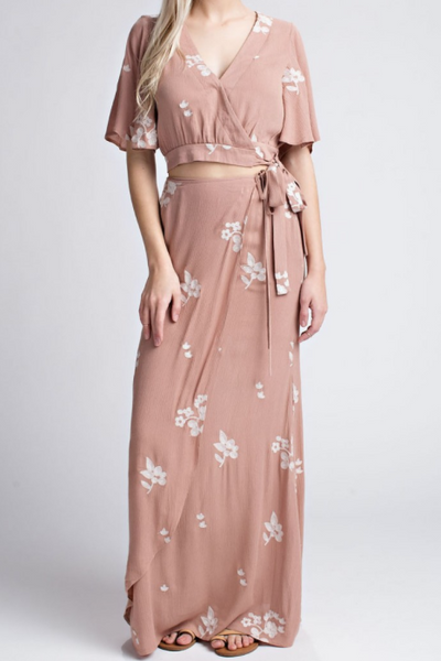 Skye Two Piece Floral Maxi Set - Blush