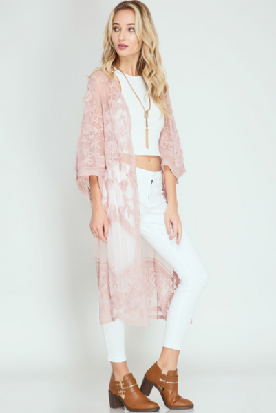 Lace Duster Kimono - Pink Rose