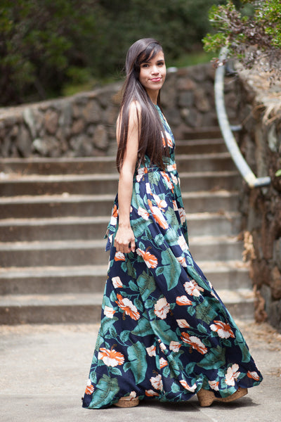 Flash Sale - La Isla Bonita Navy Floral Maxi Dress