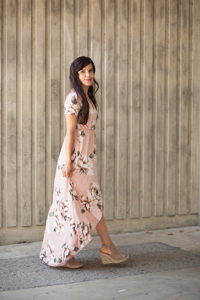 Flash Sale - Avery Pink Blush Floral High Low Maxi Dress