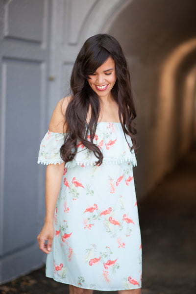 Flash Sale - Palm Beach Flamingo Dress by Everly