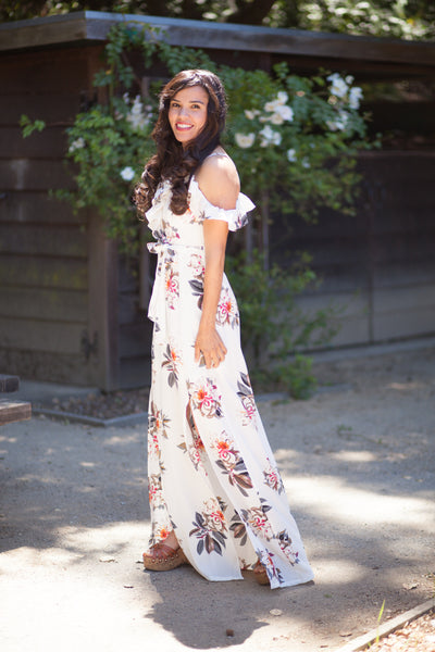 Summer Nights Ivory And Floral Off Shoulder Maxi Dress