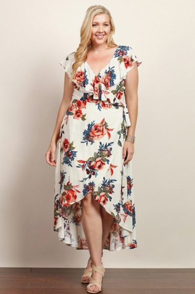 Plus Size - Leilani Ivory Floral Maxi Dress