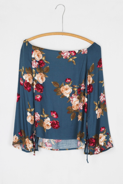 Sale - Harper Off Shoulder Top - Blue Rose