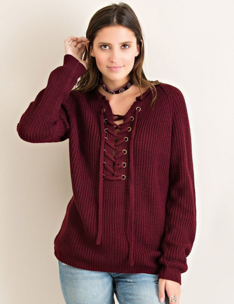 Sale - Helena Lace-Up Sweater - Burgundy