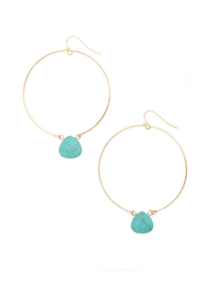 Single Stone Hoop Earrings in Turquoise and Gold by ETTIKA
