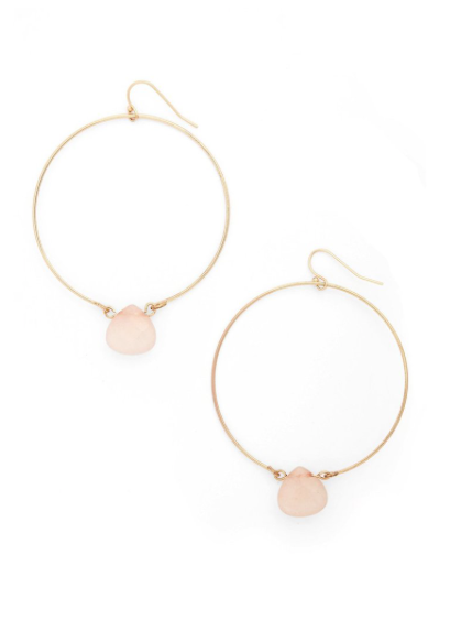Single Stone Hoop Earrings in Rose Quartz and Gold by ETTIKA