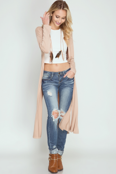 Journey Long Sleeve Midi Duster Cardigan - Blush