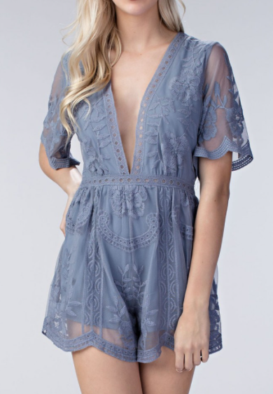 Brigitte Lace Romper - Dusty Blue