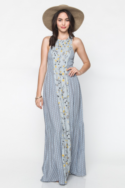 Flash Sale - Desert Flower Floral Maxi Dress by Everly - Dusty Blue