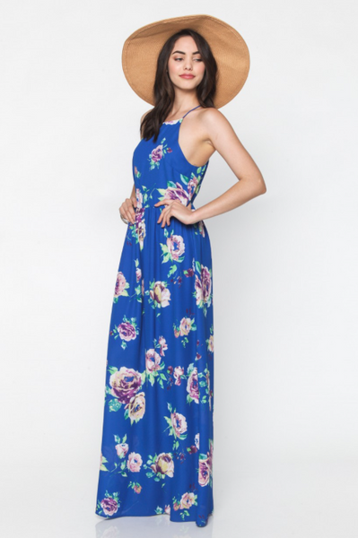Blue Millie Floral Maxi Dress by Everly