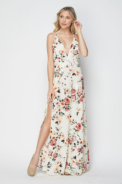 Flash Sale - Emily Floral Maxi Dress - Ivory