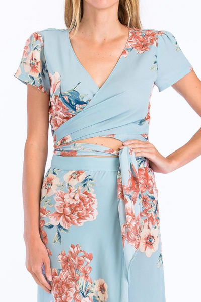 Preorder - Blue Skies Floral Wrap Maxi Set