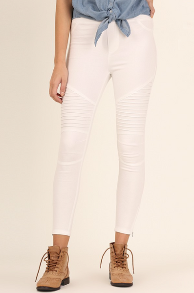 Paige Moto Jeggings - White