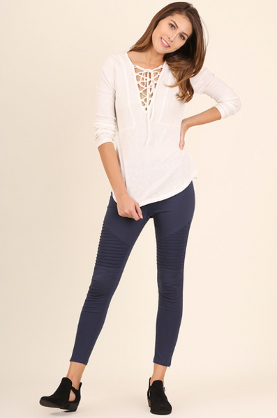 Paige Moto Jeggings - Navy