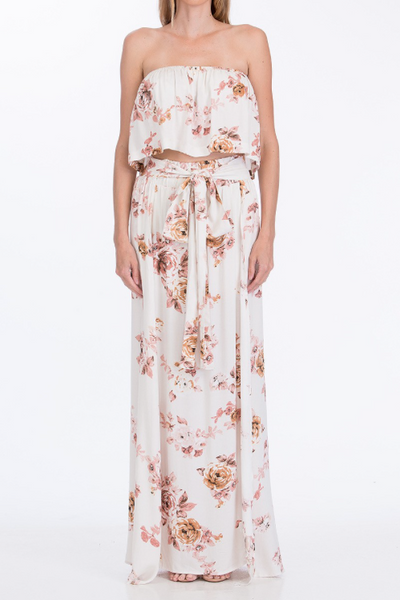 Fields of Pink Two Piece Floral Maxi Set